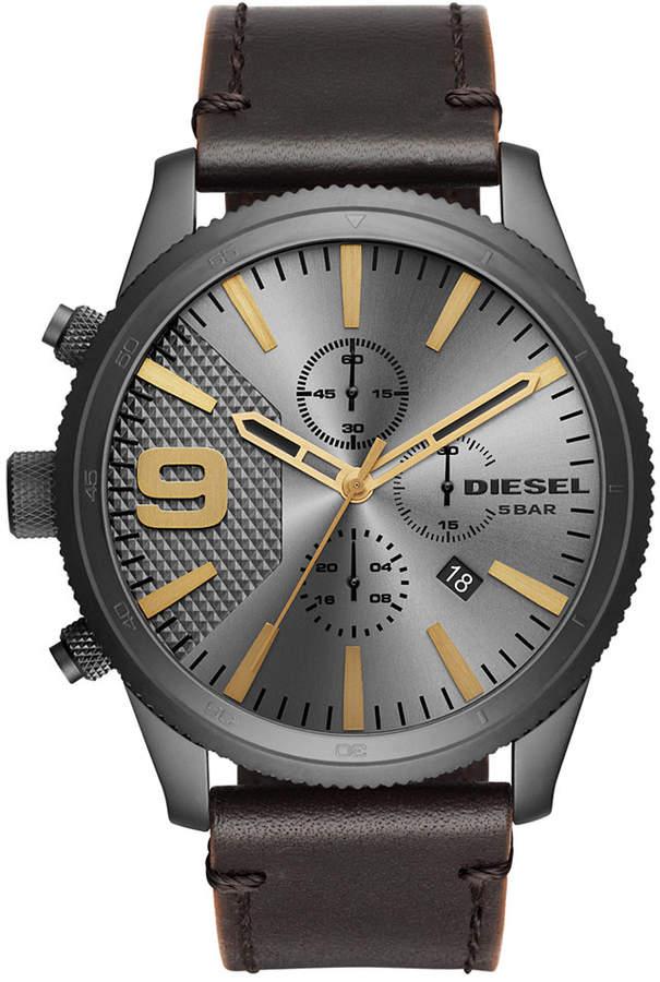 Diesel Men's Chronograph Rasp Chrono Dark Brown Leather Strap Watch 50mm