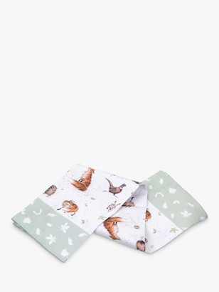 Wrendale Designs Woodland Wildlife Cotton Tea Towel, Multi