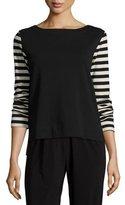 Joan Vass Striped-Sleeve Back-Zip Top, Black/Putty