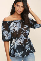 LuLu*s Giving Me Life Black Floral Print Off-the-Shoulder Top