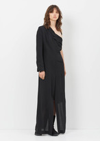 Ann Demeulemeester lightlaine black long half coat