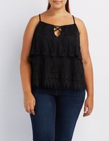 Charlotte Russe Plus Size Tiered Lace Tank Top