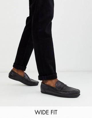 Kurt Geiger wide fit mock croc loafer in brown