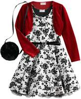 Knitworks Girls 4-6x Flocked Skater Dress with Red Bolero and Purse