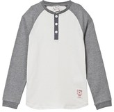 Cyrillus White and Grey Raglan Henley Tee
