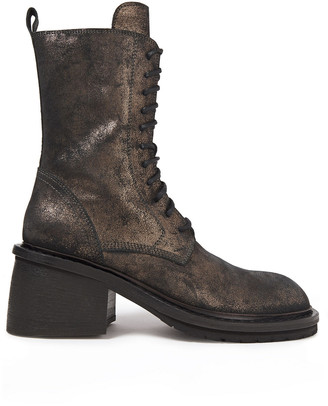 Ann Demeulemeester Metallic Brushed-leather Ankle Boots