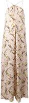Cacharel feather print long dress - women - Silk - 40