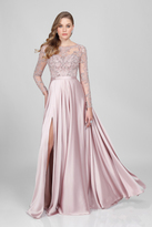 Terani Evening - Long-sleeve Beaded Long Gown with Side Slit 1712M3428.