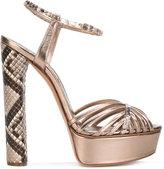 Casadei strappy platform sandals - women - Leather/Python Skin/Kid Leather - 36.5
