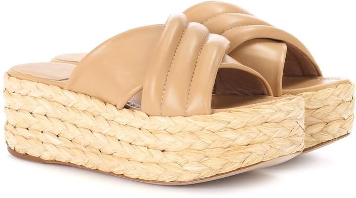 Stuart Weitzman Pufftopraffia leather platform sandals