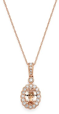 Bloomingdale's Morganite & Diamond Delicate Pendant Necklace in 14K Rose Gold, 18 - 100% Exclusive