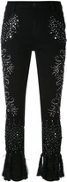 Amen embellished cropped trousers - women - Cotton/Spandex/Elastane/Viscose/glass - 42