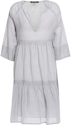James Perse Gathered Striped Cotton-blend Cotton Mini Dress