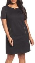 Tahari Plus Size Women's Zip Pocket Ponte Shift Dress