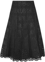 Marc Jacobs Pleated Tulle And Broderie Anglaise Cotton Skirt - Black
