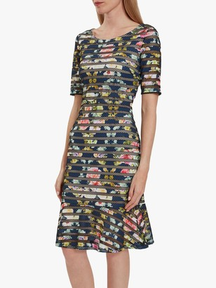 Gina Bacconi Mira Floral Print Stripe Dress, Navy