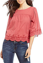 Copper Key Embroidered 3/4 Sleeve Babydoll Top