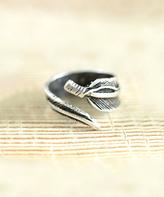 Nautilus Silvertone Feather Wrap Ring