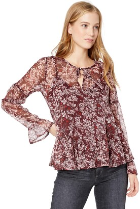 Lucky Brand Women's All Over Print Peasant Ruffle TOP