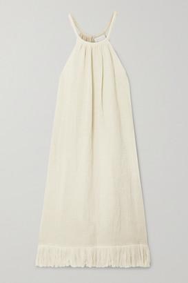 Lisa Marie Fernandez + Net Sustain Ojai Fringed Metallic Linen-blend Gauze Midi Dress - Cream