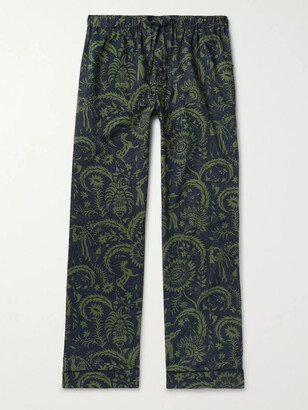 Desmond & Dempsey Printed Cotton Pyjama Trousers - Green