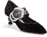 Miu Miu Women's Embellished Buckle Pointy Toe Pump