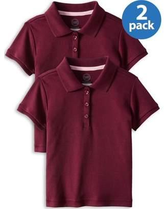 Wonder Nation Toddler Girls 2-5 School Uniform Short Sleeve Interlock Polo Shirt, 2-Pack Value Bundle