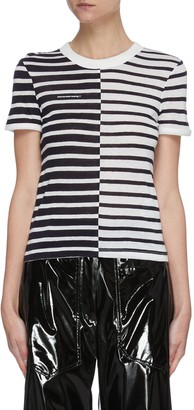 Alexander Wang Contrast bi colour stripe T-shirt