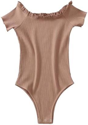 Goodnight Macaroon 'Elizabeth' Off The Shoulder Short Sleeve Bodysuit (4 Colors)
