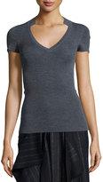 Cédric Charlier Knit Notch-Collar Short-Sleeve Sweater, Gray