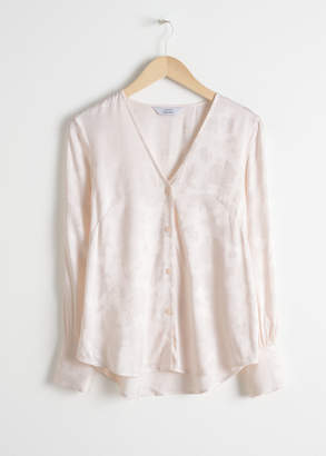 And other stories V-neck Floral Jacquard Blouse