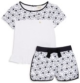 Armani Junior Girls' Embroidered Floral Top & Short Set - Sizes 4-6