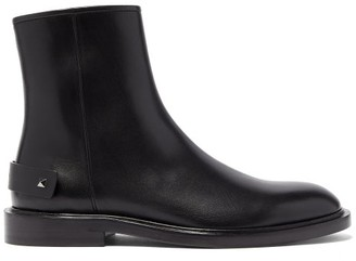 Valentino Rockstud-strap Leather Ankle Boots - Mens - Black