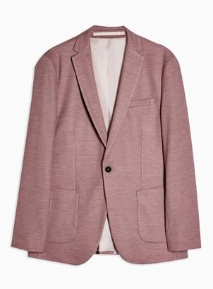 Topman Burgundy Skinny Single Breasted Jersey Blazer With Notch Lapels