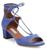 Tabitha Simmons Tallia Suede Lace-Up Block-Heel Sandals
