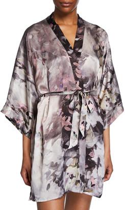 Samantha Chang Floral-Print Charmeuse Kimono Robe