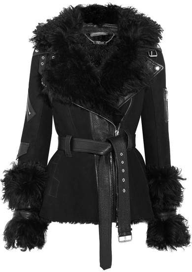 Alexander McQueen Textured Leather-trimmed Shearling Biker Jacket - Black