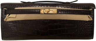 Hermã ̈S HermAs Kelly Cut Clutch Black Crocodile Clutch bags