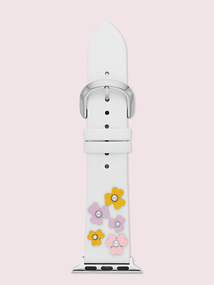 Kate Spade Floral Applique White Leather 38/40Mm Band For Apple Watch