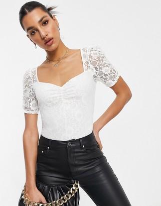 Lipsy lace sleeve bodysuit in white