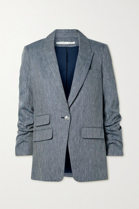Veronica Beard Martel Dickey Herringbone Linen And Cotton-blend Blazer - Navy