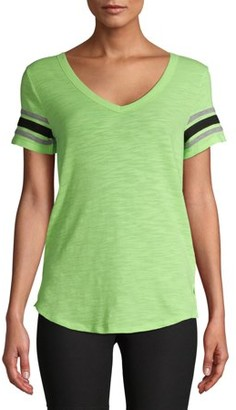 No Boundaries Juniors' Varsity Stripe V-Neck T-Shirt
