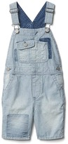 Gap Railroad stripes denim short overalls