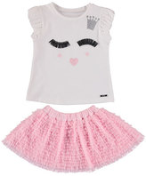 Mayoral Winky Face Tee w/ Tiered Tulle Ruffle Skirt, Pink, Size 3-7