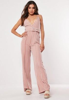 Missguided Pink Stripe Cami Belted Romper