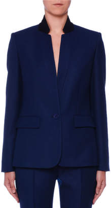 Stella McCartney One-Button Stand-Collar Open-Weave Wool Jacket