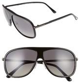 Tom Ford Women's Chris 62Mm Aviator Sunglasses - Shiny Black/ Smoke Polarized