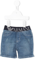 Armani Junior printed logo shorts - kids - Cotton/Spandex/Elastane - 9 mth
