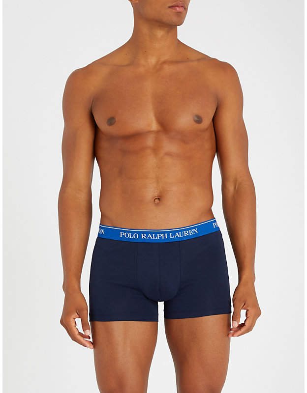 Polo Ralph Lauren Pack of three classic-fit stretch-cotton trunks