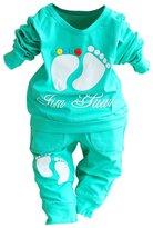 SODIAL(R) High Quality 100% Cotton baby clothing set,Toddlers children set,baby boys girls 2 pcs Footprints ,Hot sale-,80cm(7-12M)